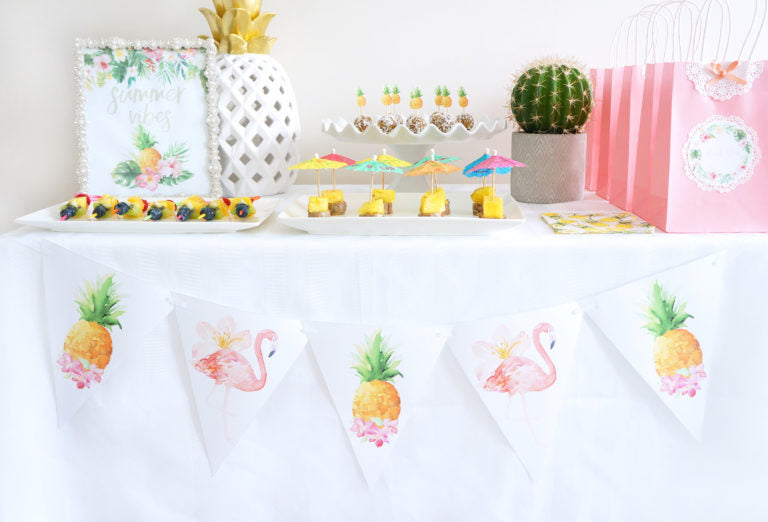 flamingo pineapple party free printable banner