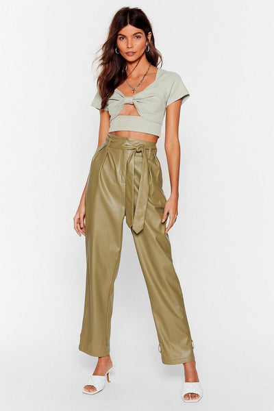 Pistachio Knot Your Baby Ribbed Crop Top With Faus Leather Paper Bag Pants