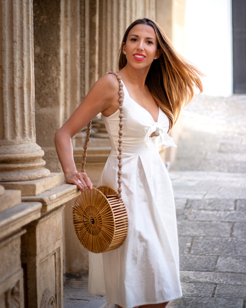 Laura Wearing White Cotton Summer Dress