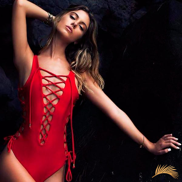 Alicante | Lace Up Red Sexy One Piece Swimsuit