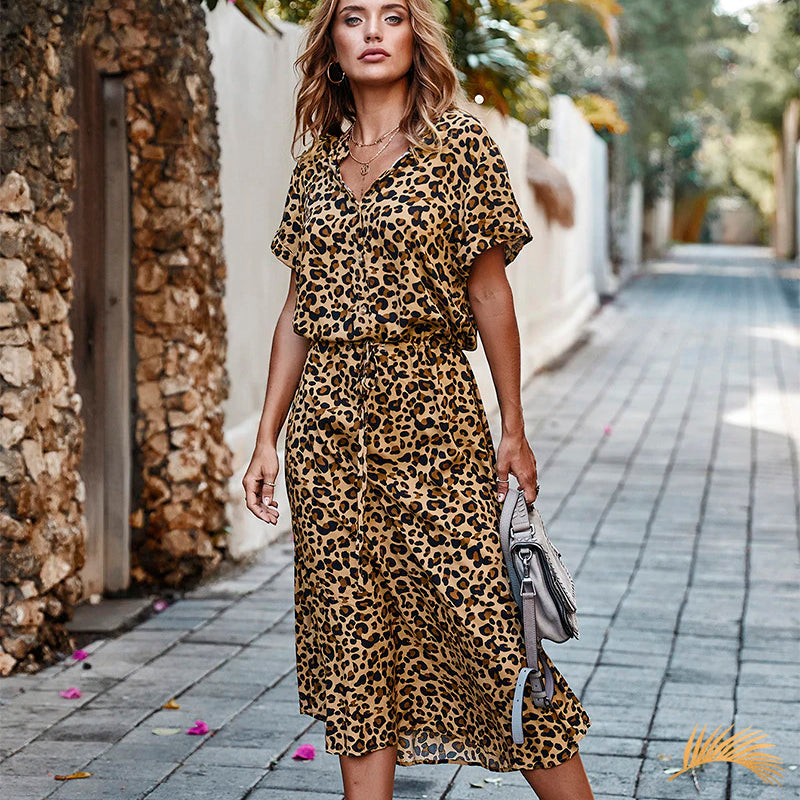Animal Print Button Drawstring Short Sleeve Midi Dress