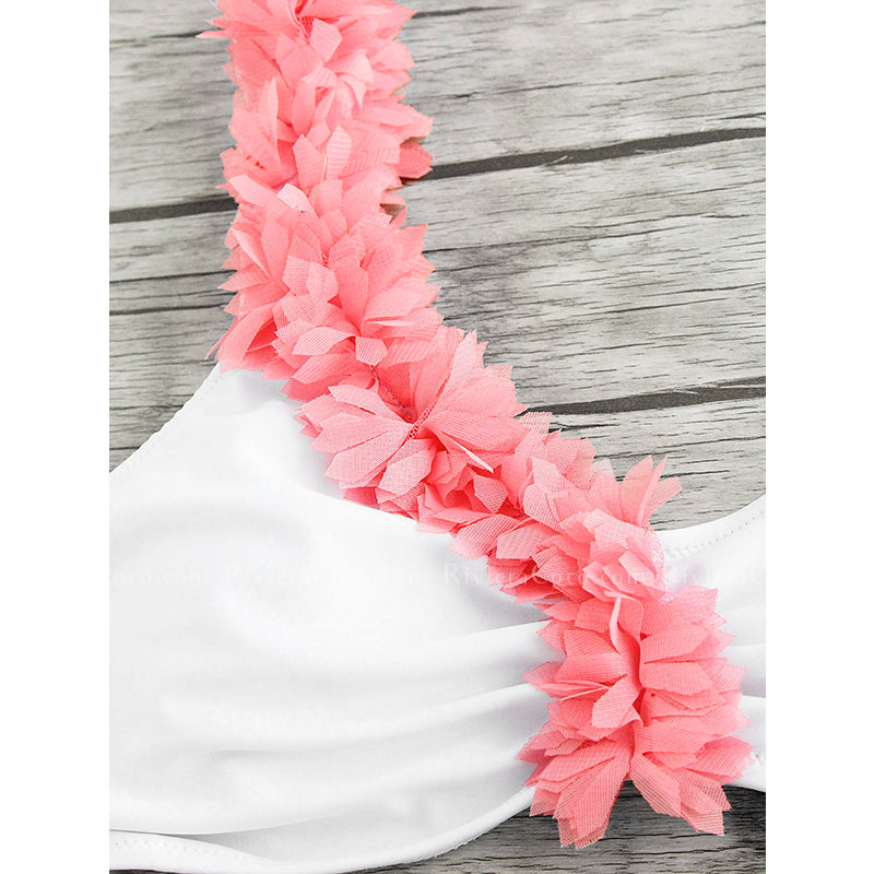 Beverly Hills - One Shoulder Petals Embellishments Bikini