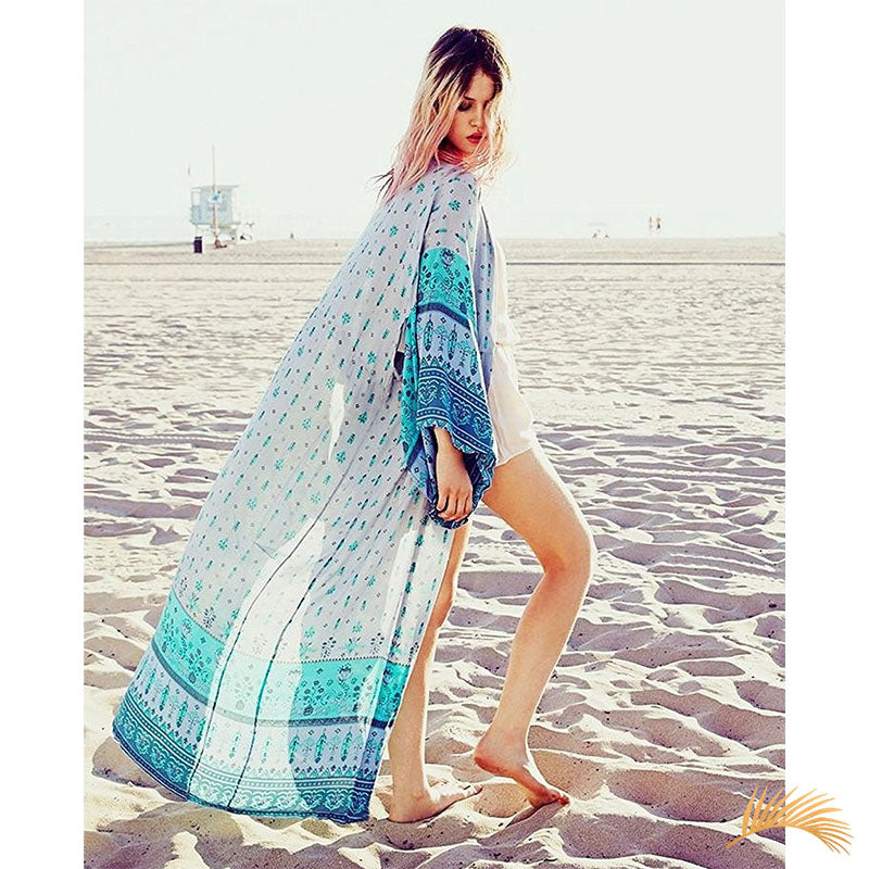 Blue Long Beach Cardigan