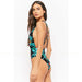 Cassis | Black Tropical Print  Deep V One Piece