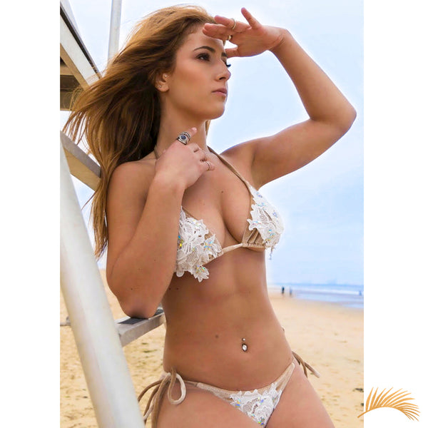 Champagne Beach | Sexy Velvet Embroidered Lace Bikini