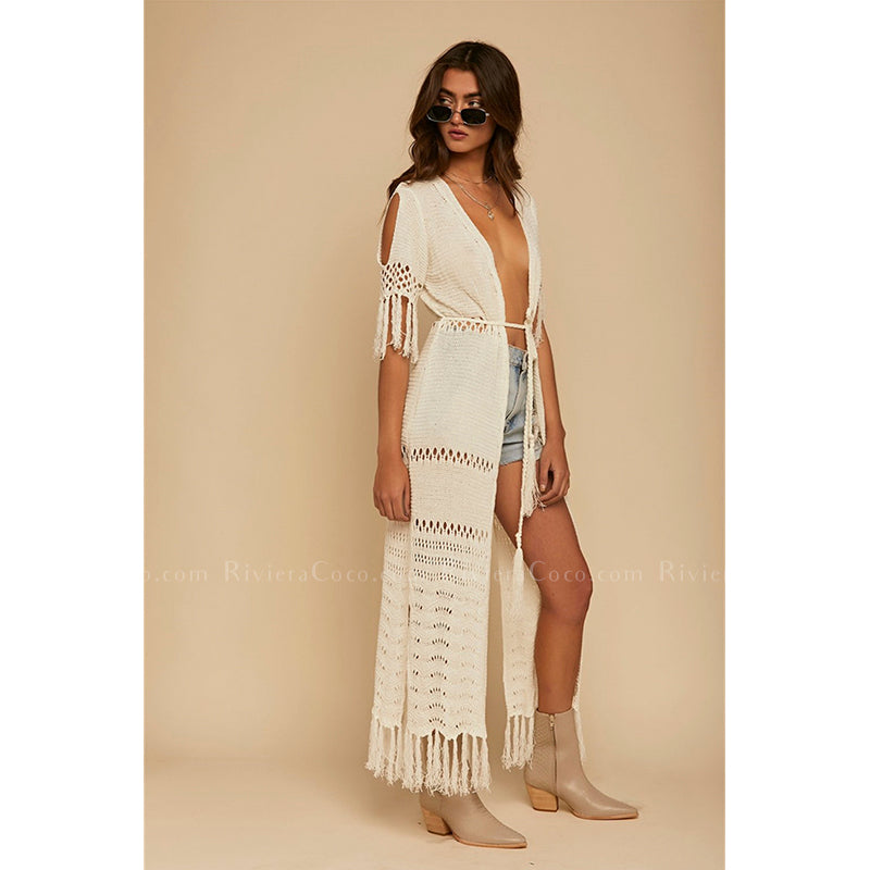 Crochet  With Tassels Long Cardigan