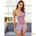 VIOLET | Fishnet Racer Back Sports Bra With Biker Shorts