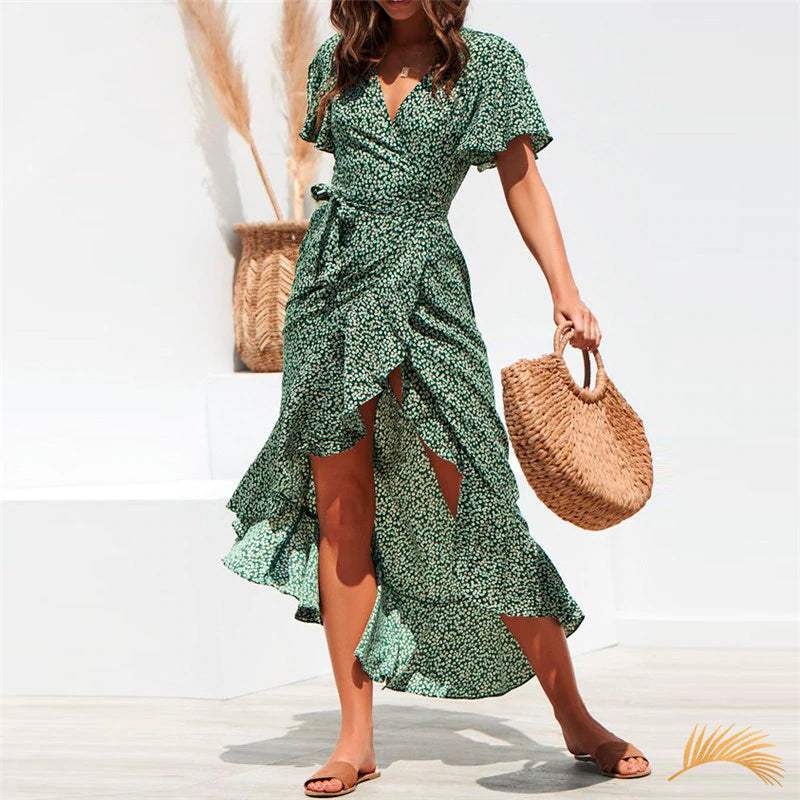 Chiffon Ruffle Split Wrap Maxi Dress