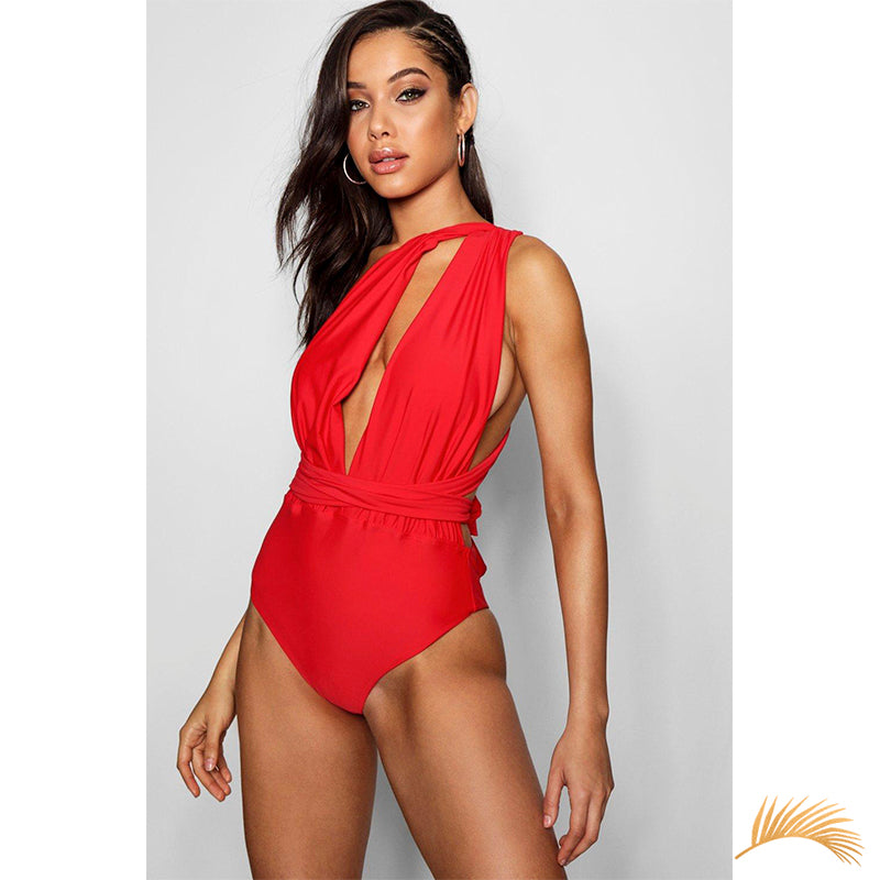 Hamptons |  Ribbon Wrap Multiway Deep V One Piece