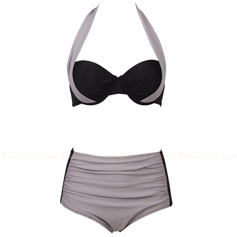 Havana | Color Block Draped High Waist Push Up Halter Bikini