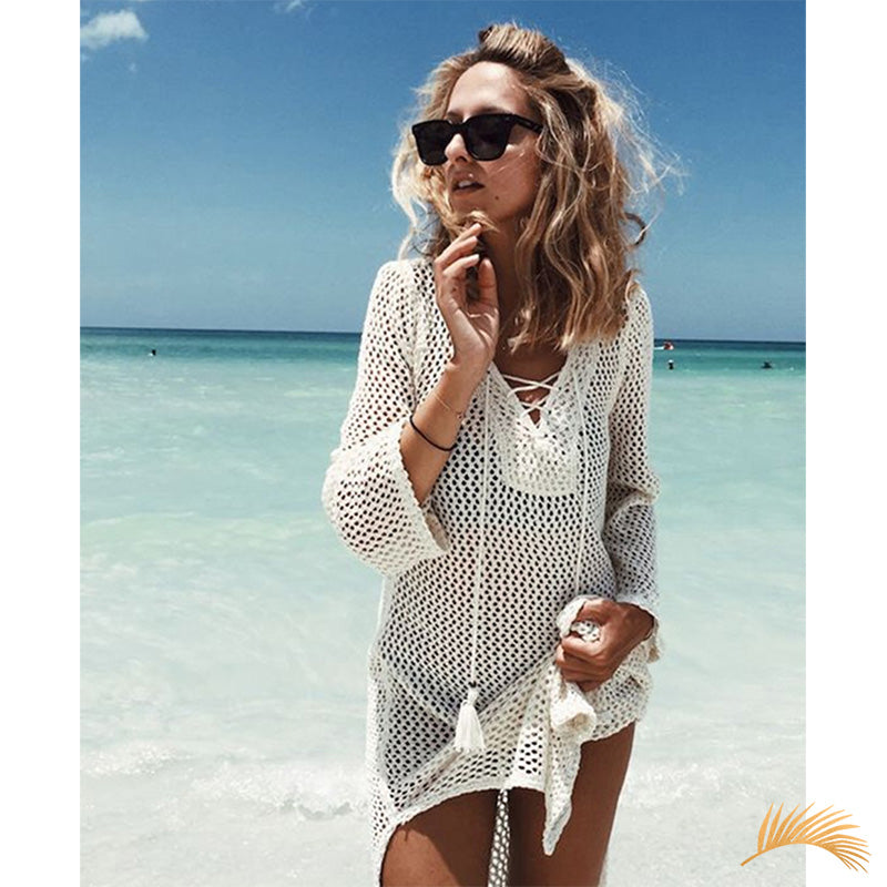 Knitted Lace Up Kaftan