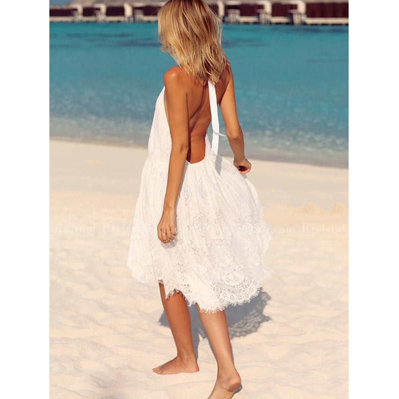 Lace Halterneck Backless Dress