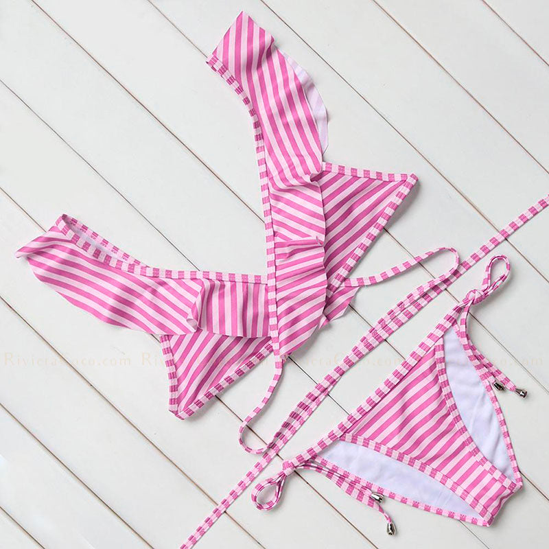 Laguna Beach | Striped Ruffles Wrap String Bikini