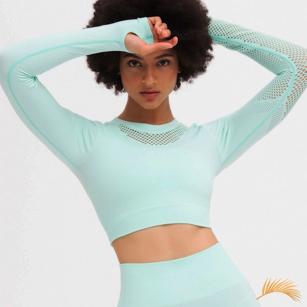 NORA | Laser Cut Hollow Long Sleeve Crop Top And Legging | 5 Colors