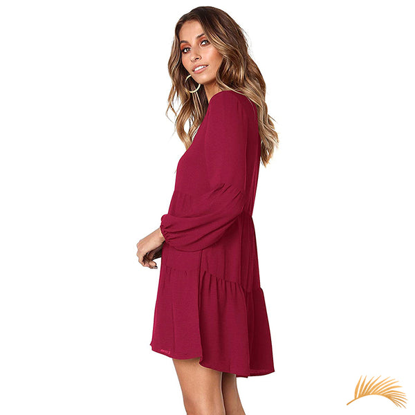 Long Sleeve Tiered Shift Dress