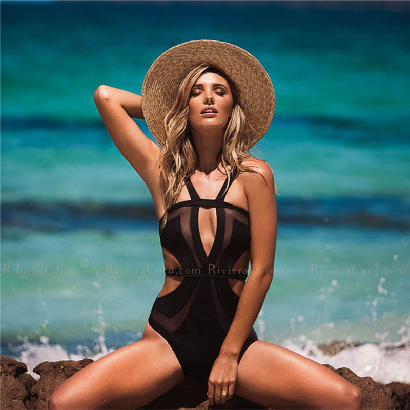 Malaga | Trendy Mesh Cut Outs One Piece Swimsuit