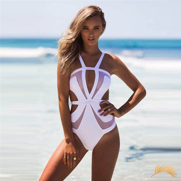 Malaga | Trendy Mesh Cut Outs One Piece Swmsuit