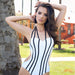 Venetia | Sexy Stripes Cut Out One Piece Swimsuit