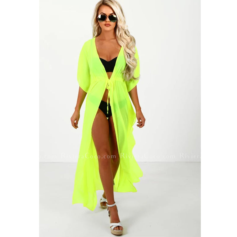 Neon Long  Beach Cover up