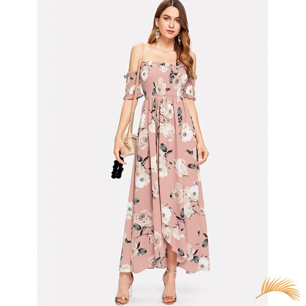 Off Shoulder Ruched Floral Dress