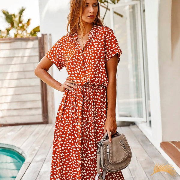 Button Drawstring Short Sleeve Midi Dress