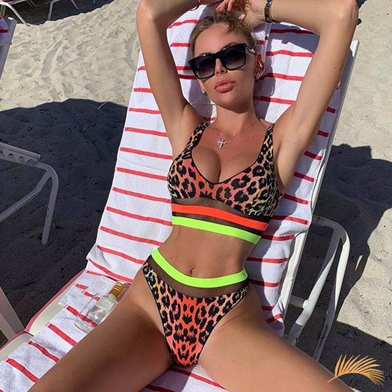 Orlando | Neon Animal Print Sporty Bikini