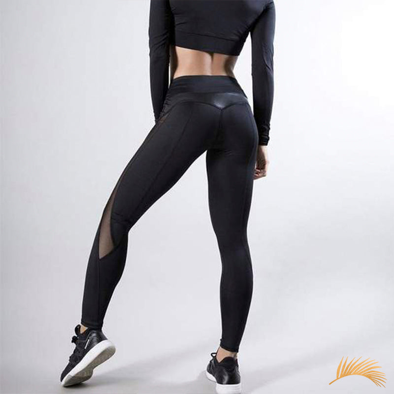 BROOKLYN | PU Leather Side Mesh Panels Leggings | 2 Colors