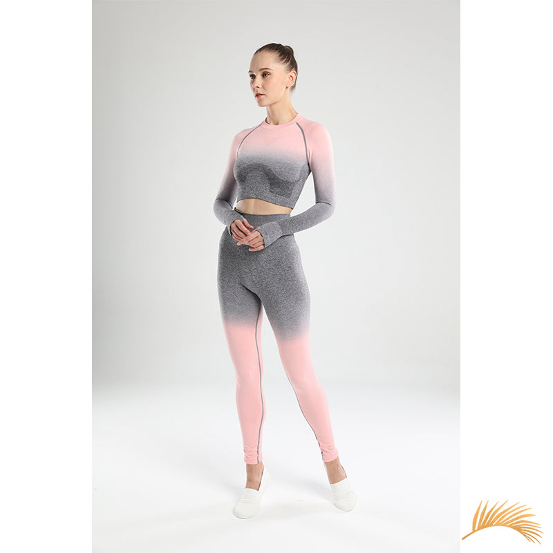 ELEONOR | Ombre Long Sleeve Crop top And Legging  | 5 Colors