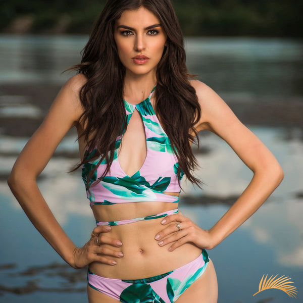 Paraiso Beach | Pink Tropical Print Wrap Around Halter Bikini