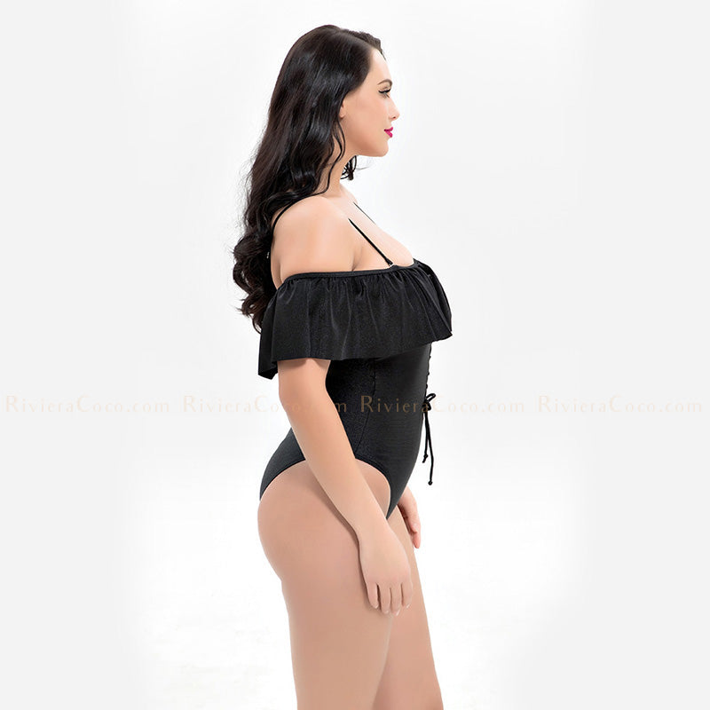 Pinarello | Lace Up Off Shoulder Flounces One Piece
