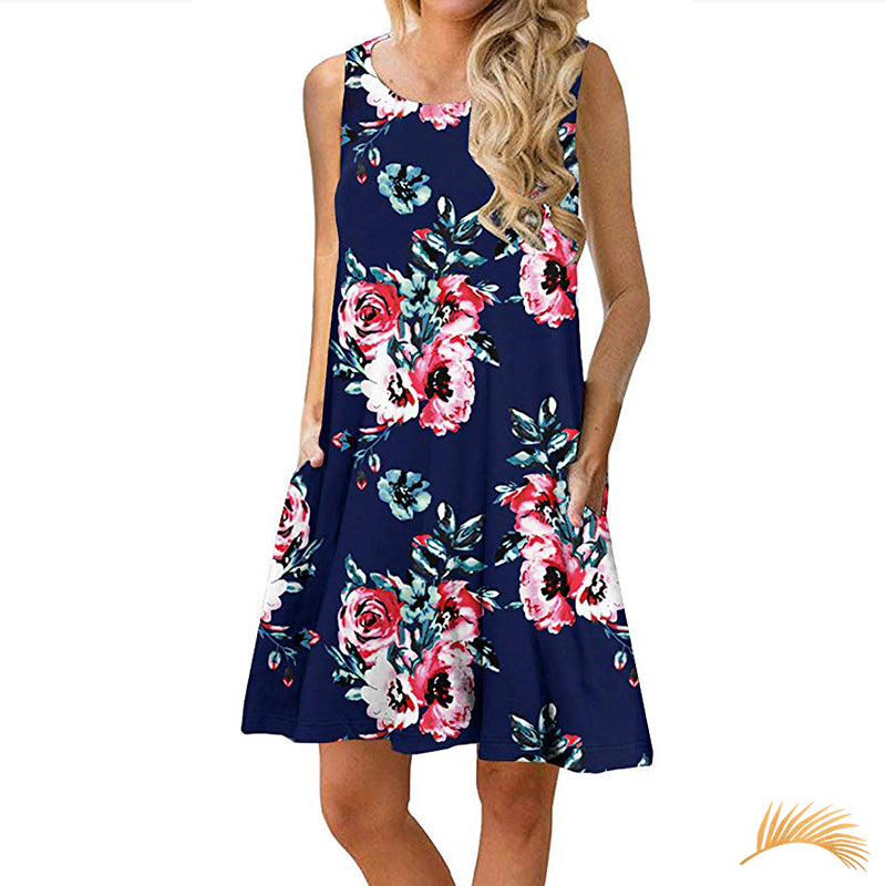 Printed Sundress With Pockets