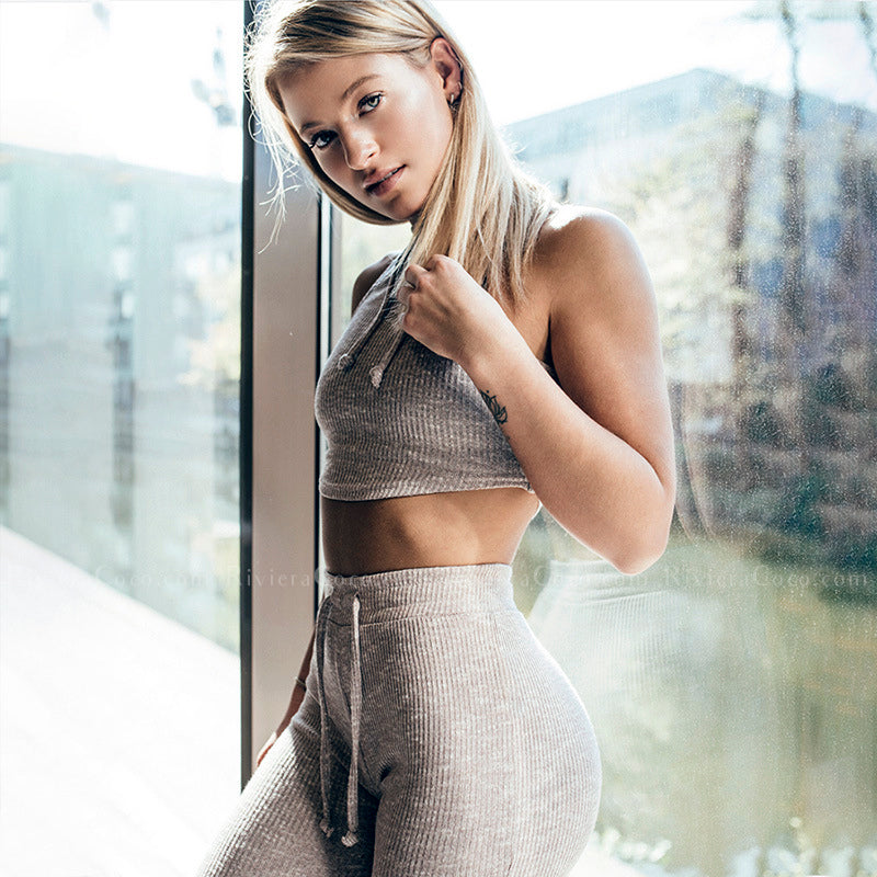 AVA | Rib-knit Drawstring Legging With Sleeveless Crop Top |  3 Colors