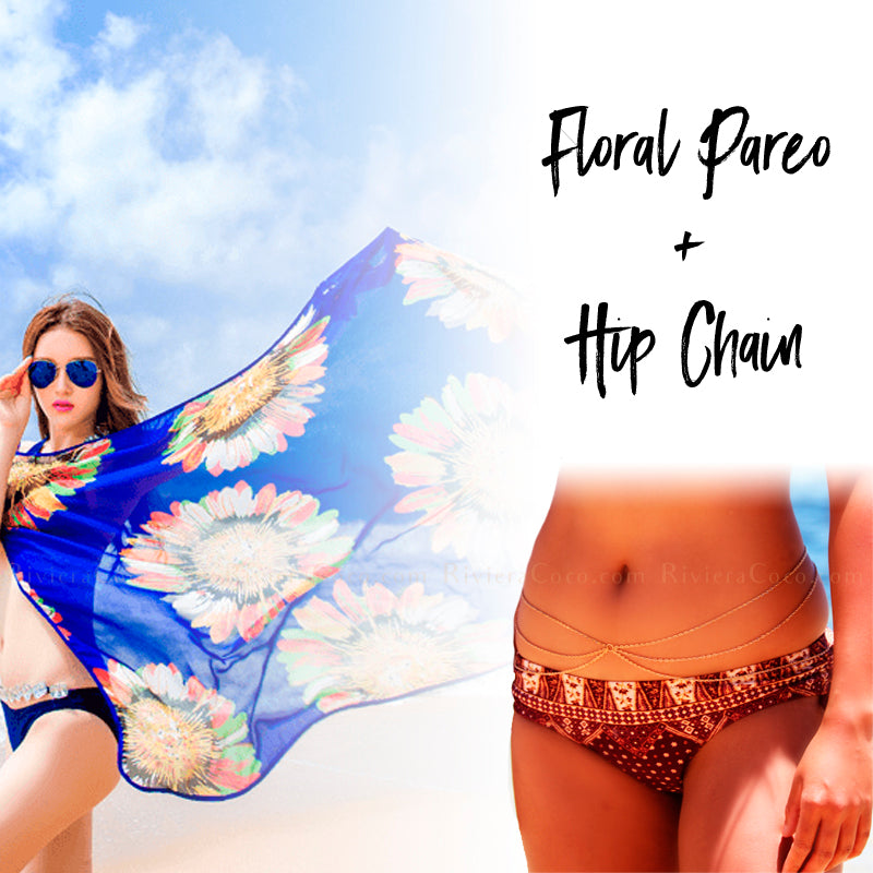 Floral Pareo + Hip Chain