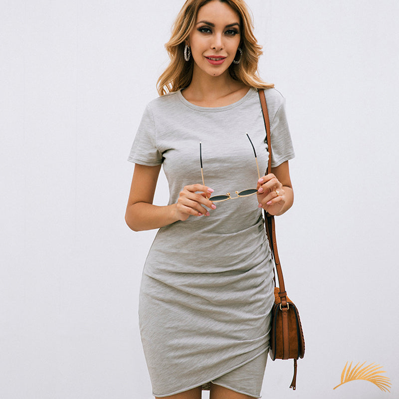 Ruched T-Shirt Bodycon Short Dress