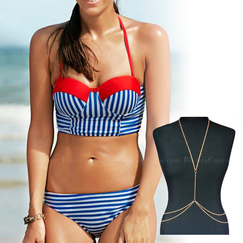 San Diego | Sailor Striped Strapless Crop Top Bikini