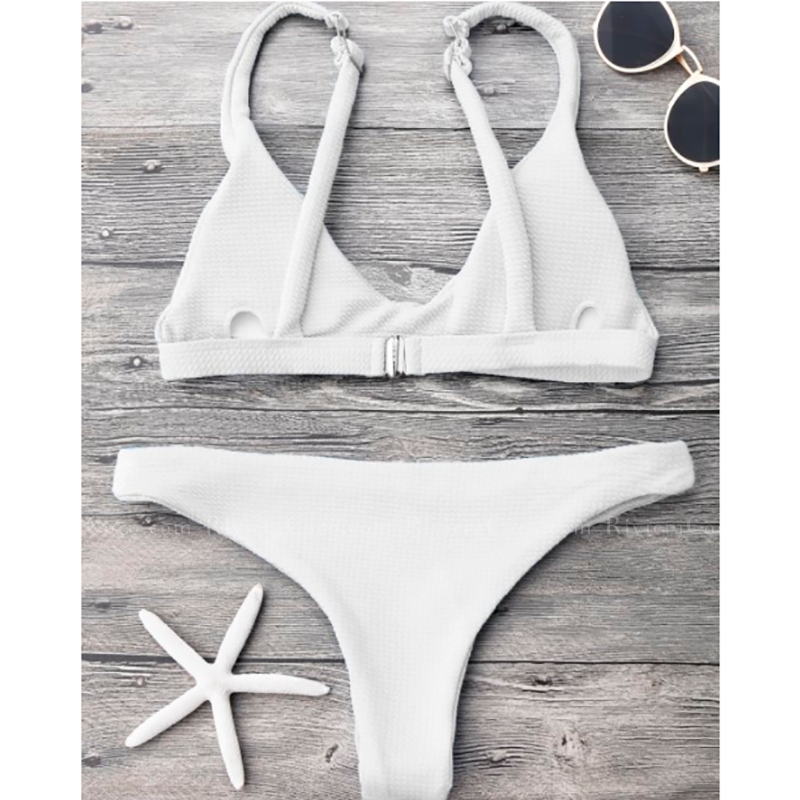Sandy Lane | Textured White Triangle Sporty Cheeky Bottom Bikini