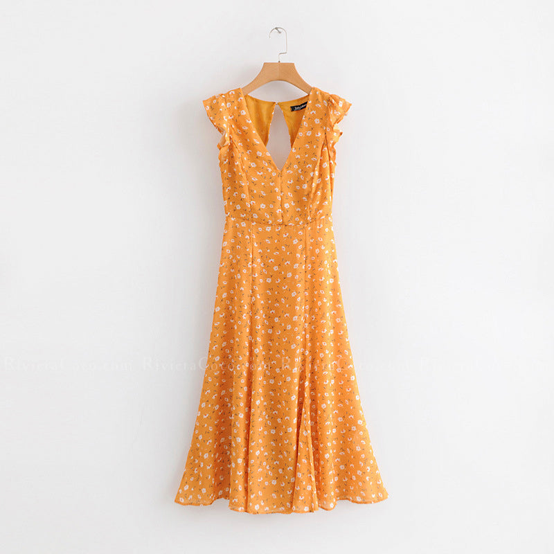 Slit Hem Yellow Floral Dress