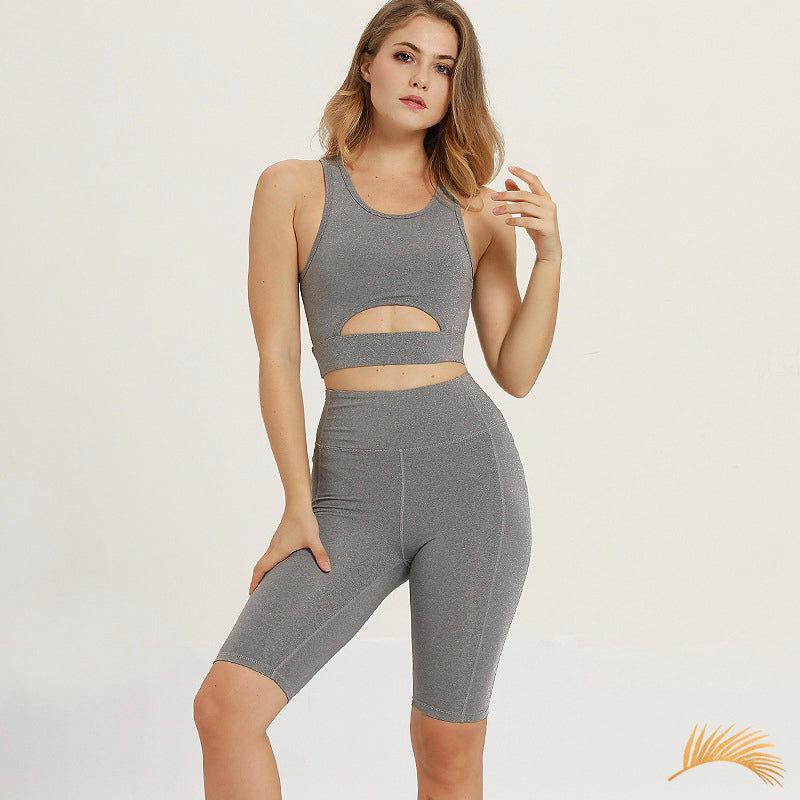 LUNA | Solid Cut Out Sports Bra And Sports Biker Shorts | 2 Colors