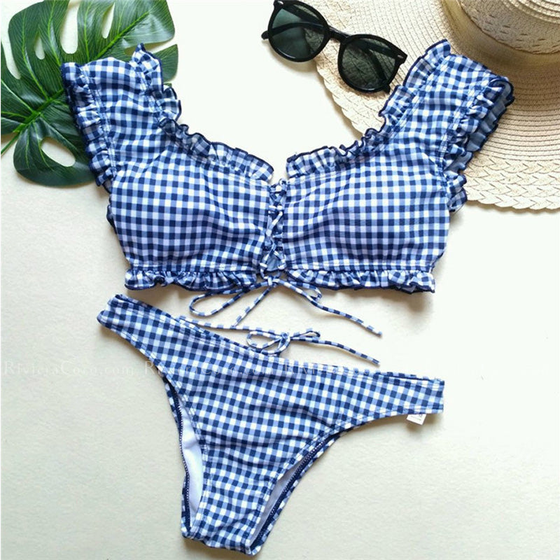 St Johns | Cute Checkerboard Sleeve Lace-up Bikini