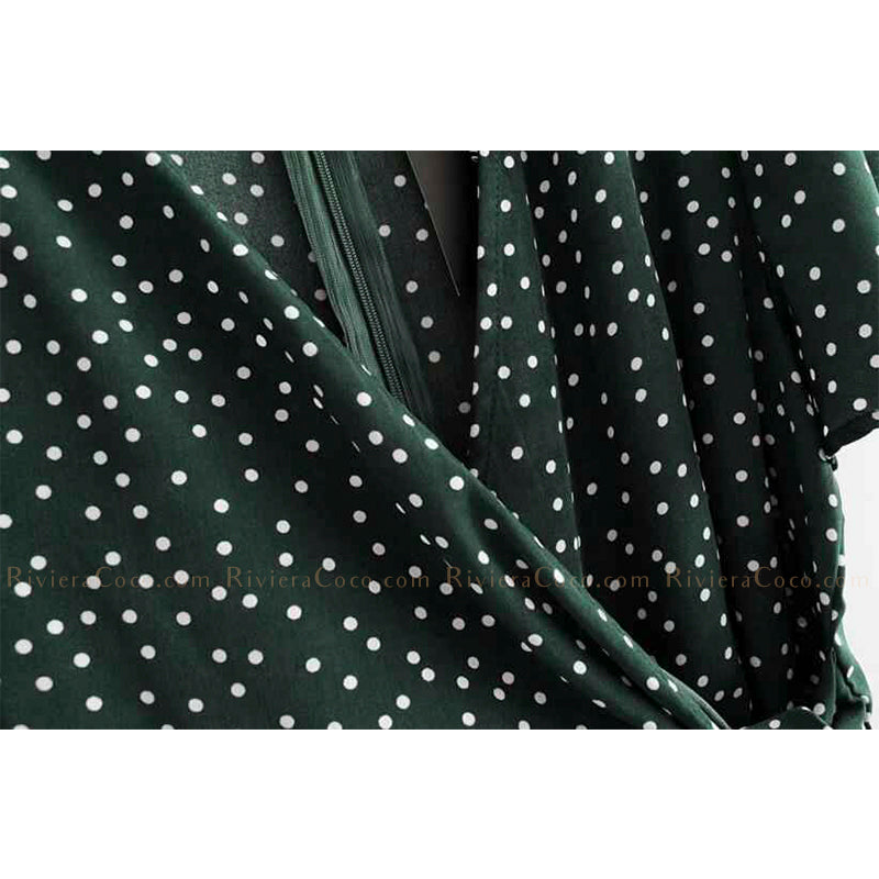 Wrap Flounced Polka Mini Dress