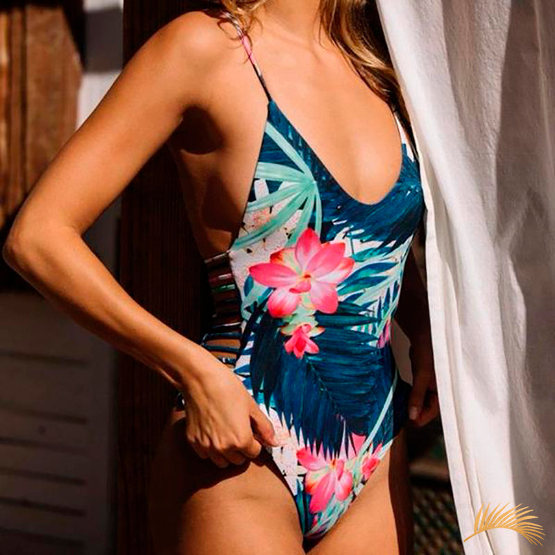 Hakalau | Exotic Flowers Side Straps One Piece Swimsuit