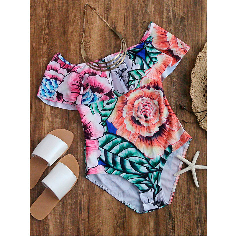 Messina | Off Shoulder Exotic Flower Print One Piece Swimsuit