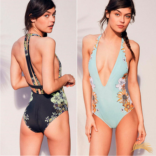 Porto Vecchio | Deep V Floral Straps One Piece Swimsuit