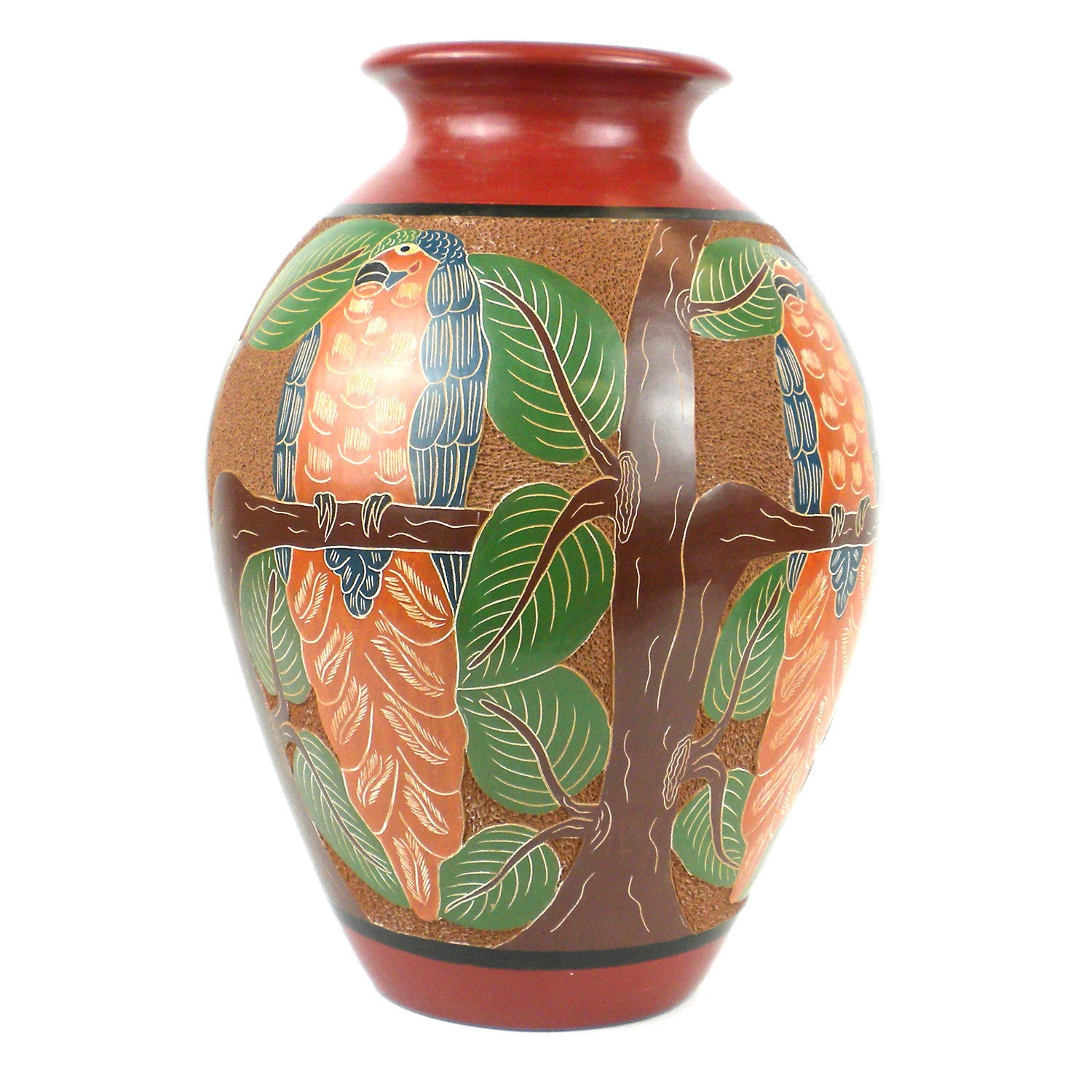 13 inch Tall Vase - Parrot Relief Handmade and Fair Trade
