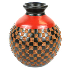 6 inch Tall Vase - Checkers Relief Handmade and Fair Trade