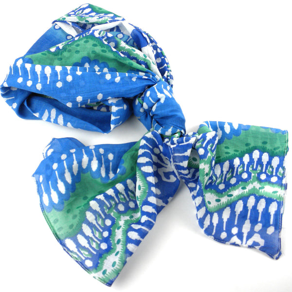 White and Blue Ikat Cotton Scarf Handmade and Fair Trade