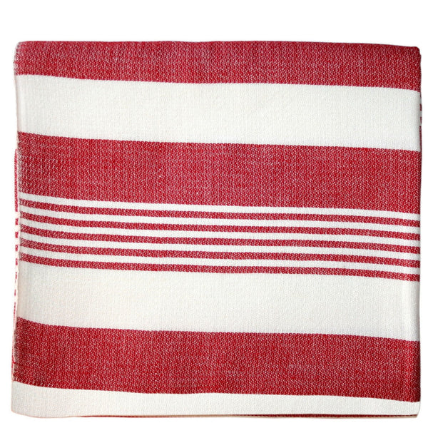 Red Stripes Cotton Beach Throw - Sustainable Threads (L)