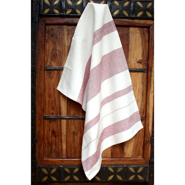 Red Stripes Cotton Kitchen Towel - Sustainable Threads (L)