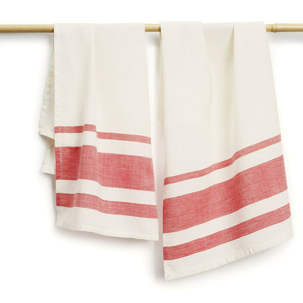 Rose Stripes Cotton Tea Towels Set of 2 - Sustainable Threads (L)