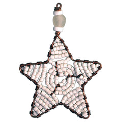 Beaded Star Ornament White - Global Mamas (H)